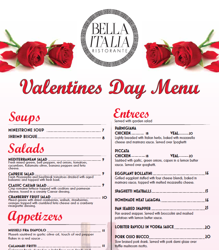 Valentine's Day Dinner at Bella Italia